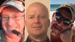 The three are (from left to right) Capt. Ian McBeth of Great Falls, Montana; First Officer Paul Clyde Hudson of Buckeye, Arizona; and Flight Engineer Rick DeMorgan Jr. of Navarre, Florida. (Coulson Aviation (USA) Inc.)
