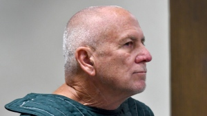 Robert Eugene Koehler in court at his first appearance before Judge David Silverman via closed circuit Tuesday, Jan. 21, 2020 at the Brevard County Jail in Sharpes, Fla. (Tim Shortt/Florida Today via AP)