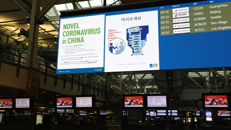 A sign warns travellers about the coronavirus at the Vancouver International Airport. (Credit: CBSA)