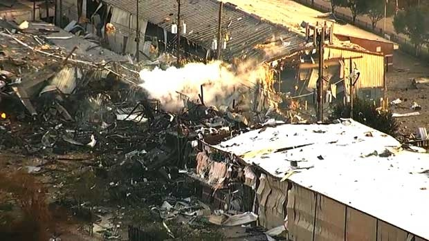 One person was taken to hospital following an explosion at an apparent industrial building in Houston, Friday, Jan. 24, 2020.