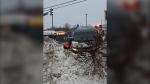 Alleged car thief crashes second vehicle into snowbank on Lasalle Blvd. Jan. 24, 2020 (Susan Landells)