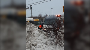 Alleged car thief crashes second vehicle into snowbank on Lasalle Blvd. Jan. 24, 2020 (Susan Landells)