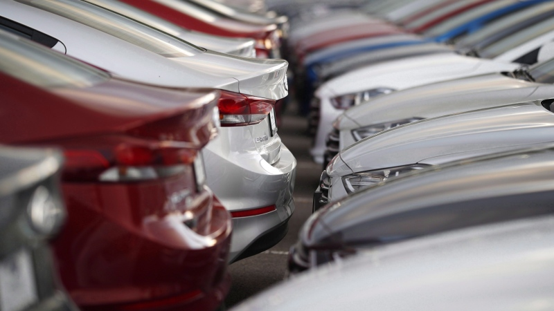 Unsold 2018 Elantra sedans sit at a Hyundai dealership in Littleton, Colo. on Sunday, June 24, 2018. THE CANADIAN PRESS/AP/David Zalubowski