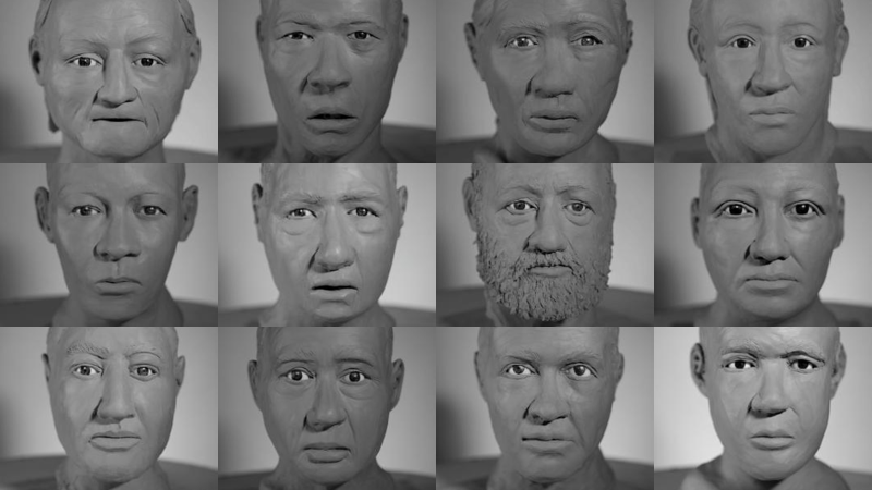 The faces of some of the deceased are shown in a composite image of sculptures.