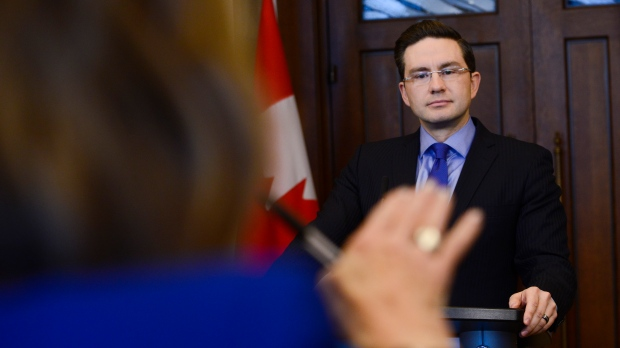 Conservative Finance Critic Pierre Poilievre responds to the federal economic and fiscal update on Parliament Hill in Ottawa on Monday, Dec. 16, 2019. THE CANADIAN PRESS/Sean Kilpatrick