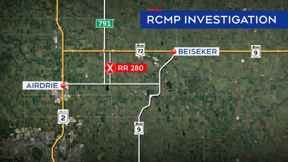 RCMP were called to a scene between Beiseker and Airdrie late Thursday afternoon.