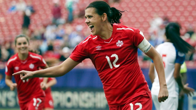 Canada forward Christine Sinclair celebrates after scoring a goal in the second half of a soccer match at the CONCACAF women's World Cup qualifying tournament against Panama in Frisco, Texas on Oct. 14, 2018. (THE CANADIAN PRESS/AP, Andy Jacobsohn)