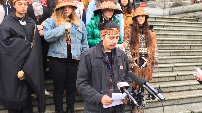 Indigenous youth gathered at the British Columbia legislature to support hereditary Wet'suwet'en chiefs who oppose B.C.'s liquefied natural gas pipeline: Jan. 24, 2020 (CTV News)