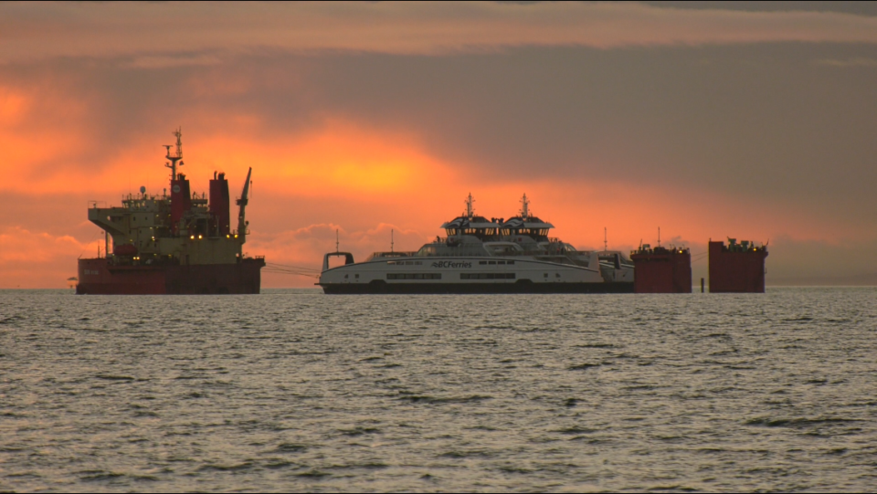 BC Ferries' hybrid-electric vessels are seen from Victoria's shores early Friday morning: Jan. 24, 2020 (CTV News)