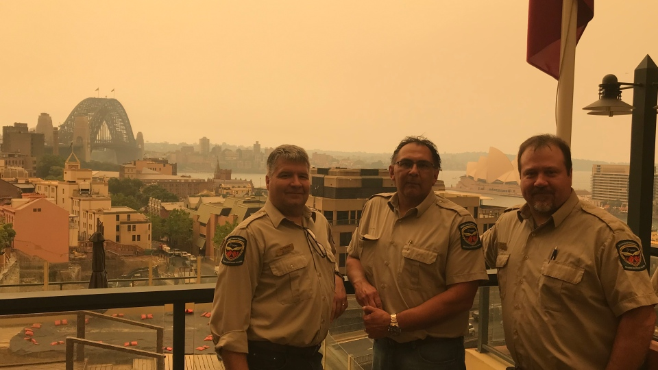 Ontario Firefighters in Australia (L to R -Pat Payette, Dan Johnson, and Bob Hurley taken from the Canadian Consulate in downtown Sydney) Credit: Pat Payette