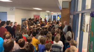 Students at Hugh Cairns V.C. School packed the hallway to sing a staff member O Canada. (Courtesy: The Saskatoon Public School Board)