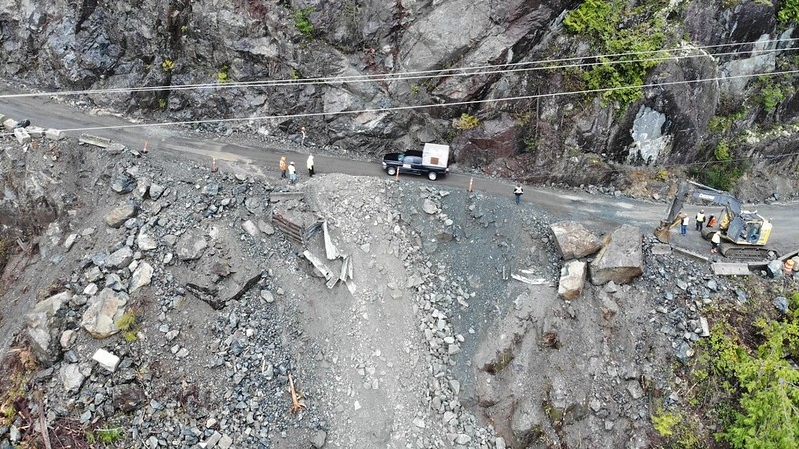 Blasting at the Kennedy Hill site triggered a rockslide that cut off access to Tofino and Ucluelet for a weekend in January 2020.