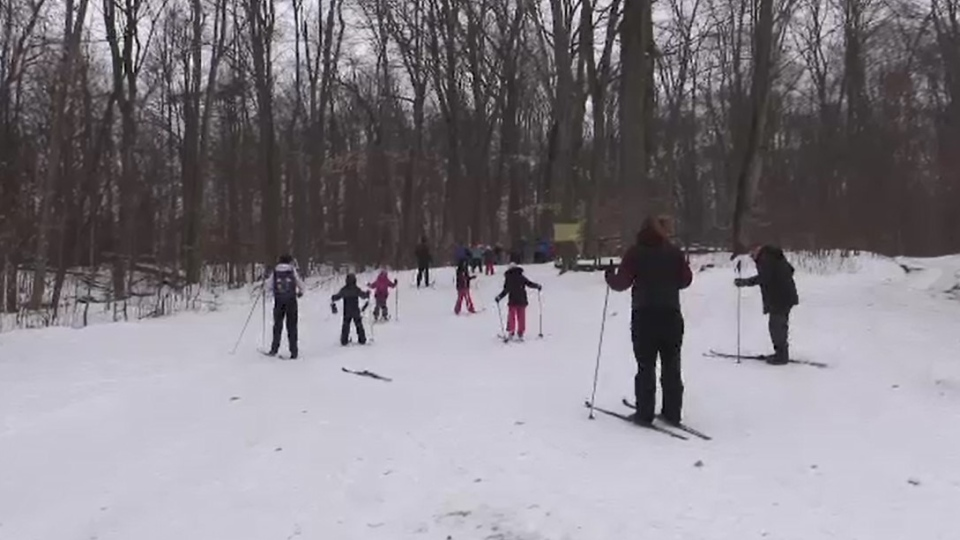 Children enjoy day camp at Circle 'R' Ranch west of London, Ont. on Friday, Jan. 24, 2020. (Gerry Dewan / CTV London)