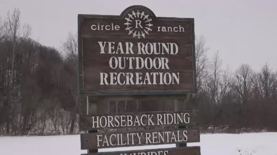 A sign for Circle 'R' Ranch west of London, Ont. is seen on Friday, Jan. 24, 2020. (Gerry Dewan / CTV London)