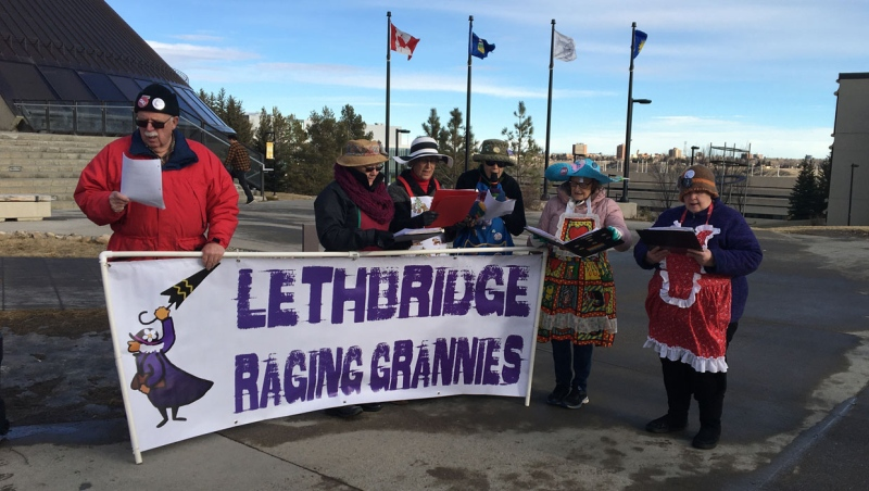 The Lethbridge chapter of the Raging Grannies joined a rally Friday to demonstrate against military action in Iran and the Middle East.