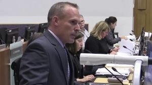 Josh Browne, CEO of London Middlesex Community Housing, speaks at city hall in London, Ont. in this file photo. (Daryl Newcombe / CTV London)