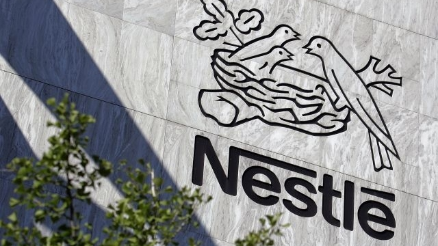 Nestle's corporate logo is shown at the company's headquarters in Vevey, Switzerland in this undated file photo. (Fabrice Coffrini / AFP)