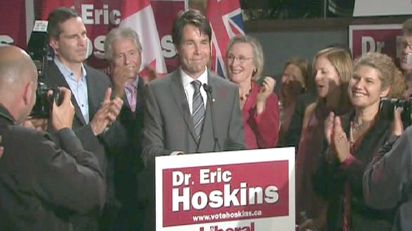 Dr. Eric Hoskins, the new Liberal MPP-elect for St. Paul's, takes in a moment of applause on Thursday, Sept. 17, 2009.