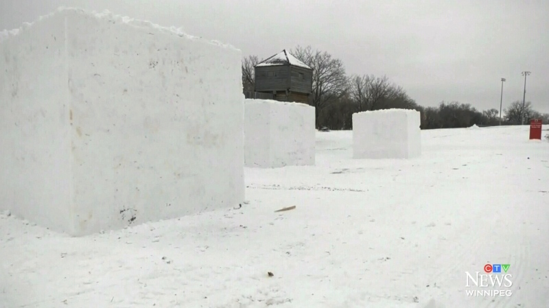 Festival snow blocks ready for sculptures