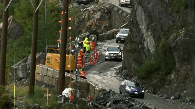 Crews rush to clear island highway after rockslide