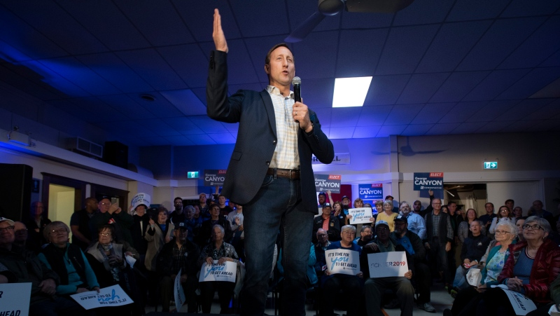 Former federal cabinet minister Peter MacKay speaks before a campaign stop for Conservative Leader Andrew Scheer in Little Harbour, N.S., on October 17, 2019. THE CANADIAN PRESS/Adrian Wyld