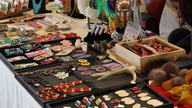 A jewelry table is shown at the Wanuskewin Heritage Park's monthly market. (Chad Leroux/CTV News)
