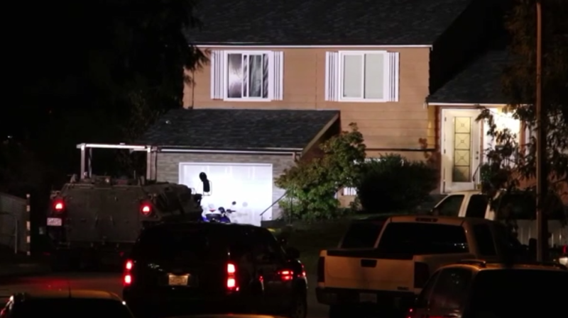 """Surrey RCMP say they arrested an """"emotionally elevated"""" person on Friday, Jan. 24, 2020, but are still investigating a report of a large explosion at 124th Street and Iona Place. (Shane MacKichan)"""