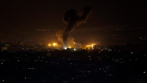 In this file photo, an explosion caused by Israeli airstrikes is seen on Gaza City, Wednesday, Jan. 15, 2020. Israeli aircraft struck again on Jan 25, but there have been no reports of injuries in the southern Gaza Strip. (AP Photo/Adel Hana)