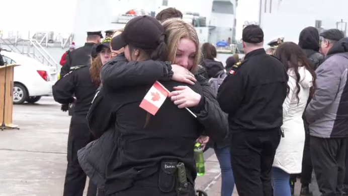 HMCS Glace Bay and Shawinigan crews bid farewell to loved ones