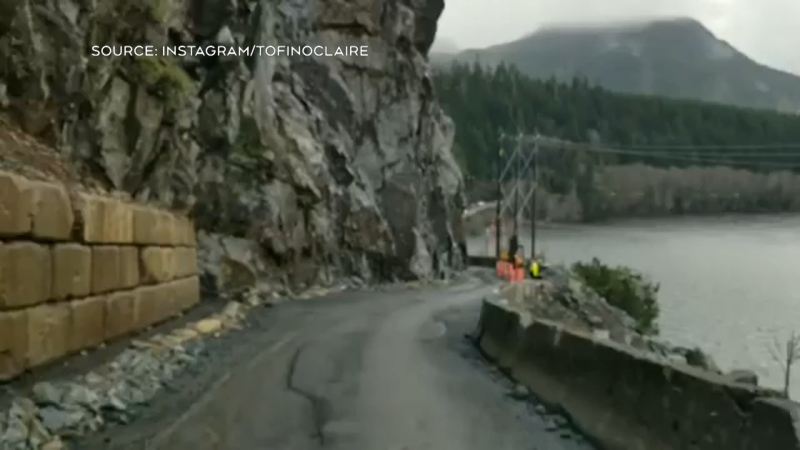 Dash cam video shows Highway 4 landslide
