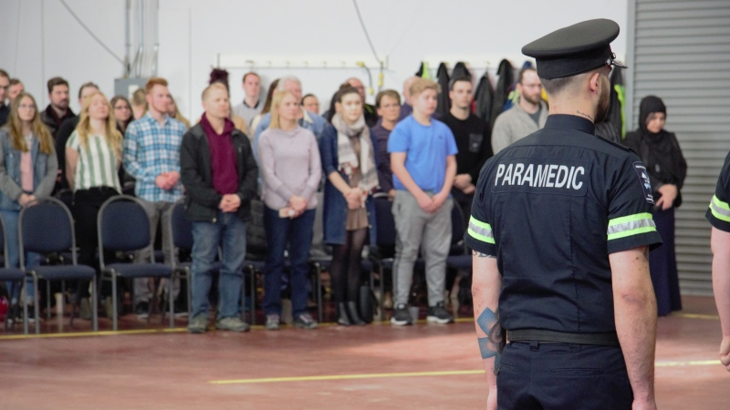 Chris Kerr, a primary care paramedic graduate, at a Medavie Health Services West graduation ceremony on January 24, 2020. (Andrew Mareschal/CTV News)