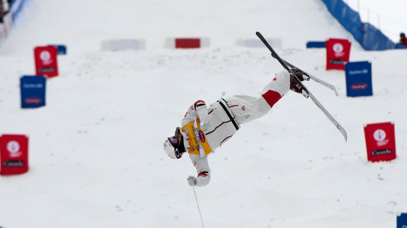Mikael Kingsbury, of Deux-Montagnes, Que., skies the course at the freestyle world cup moguls event Saturday, January 25, 2020 at Mont-Tremblant Quebec. Kingsbury won the event. THE CANADIAN PRESS/Jacques Boissinot