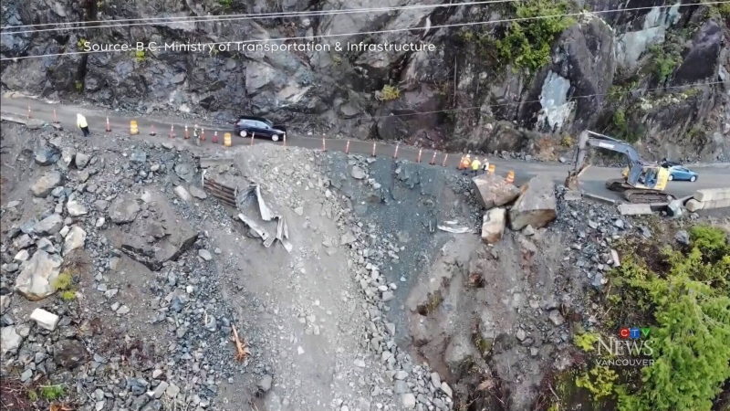 Highway 4 landslide on Vancouver Island