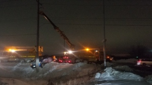 A truck crashed into a hydro pole on Lagimodiere Boulevard on Jan. 25, 2020. (Dan Timmerman/CTV News)