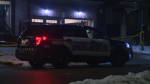 A police cruiser is seen outside a residence during a homicide investigation on Saturday, Jan. 25, 2020. (Adam Marsh / CTV Kitchener)