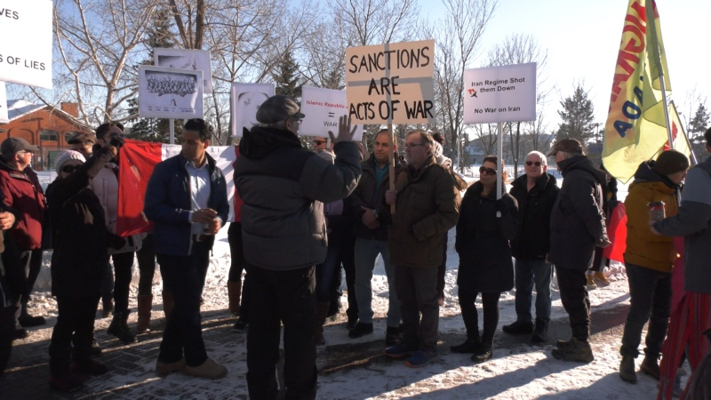 Iranian-Canadians in Edmonton counterprotested Jan. 25, 2020, rally organized by the Edmonton Coalition Against War and Racism, which wants to see Canada withdraw its troops from the Middle East.