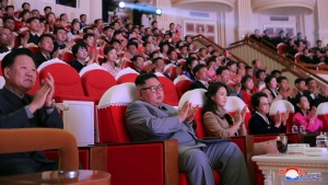 In this Saturday, Jan. 25, 2020, photo provided by the North Korean government, North Korean leader Kim Jong Un, center, claps with his wife Ri Sol Ju, third from right, and his aunt Kim Kyong Hui, second from right, as they attend a concert celebrating Lunar New Year's Day in Pyongyang, North Korea. Independent journalists were not given access to cover the event depicted in this image distributed by the North Korean government. The content of this image is as provided and cannot be independently verified. (Korean Central News Agency/Korea News Service via AP)
