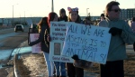 Activists who are against trophy hunting staged a protest outside an event hosted by the Calgary chapter of Safari Club International Saturday evening.