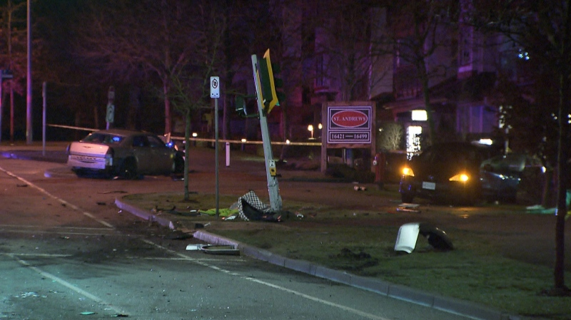 A collision between a Chrysler sedan and a Mazda SUV in Surrey on Jan. 25 sent two people to hospital. (CTV)