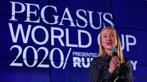 Belinda Stronach, chairman and president of the Stronach Group, speaks during the draw for the Pegasus World Cup Horse Race, Wednesday, Jan. 22, 2020, in Hallandale Beach, Fla. (AP Photo/Wilfredo Lee)