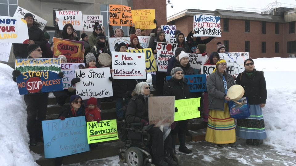 Protesters gathered outside Sudbury's courthouse Sunday Jan. 26