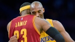 FILE - Los Angeles Lakers guard Kobe Bryant, right, and Cleveland Cavaliers forward LeBron James hug before the start of an NBA basketball game, in Los Angeles on Jan. 15, 2015. Paul Rodriguez/The Orange County Register via AP)