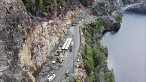 Construction crews were able to install a new bridge at the site of a landslide on Highway 4 on Vancouver Island more quickly than anticipated Saturday night. (@DriveBC/Twitter)