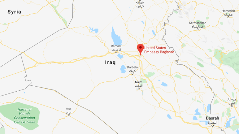 A map of Iraq with the U.S. Embassy in Baghdad highlighted in photo. (Google Maps)