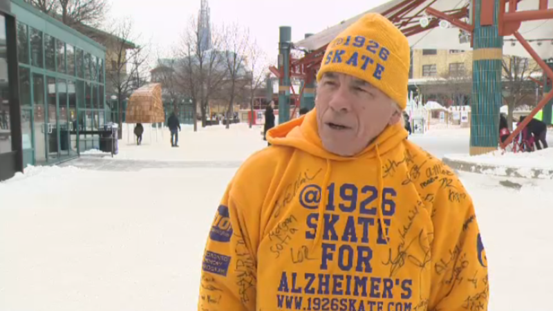 Steve McNeil skated 19 hours and 26 minutes straight to raise money for Alzheimer's awareness.