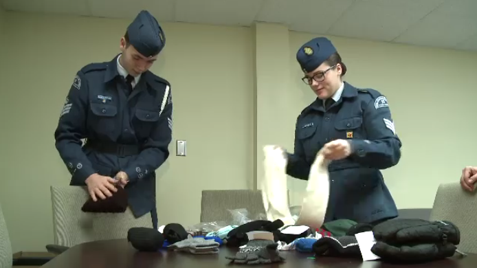 Cadets in Sydney prepare warm clothes for donation