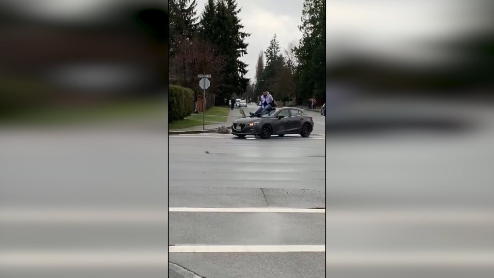 Man arrested after allegedly jumping on top of car in Maple Ridge