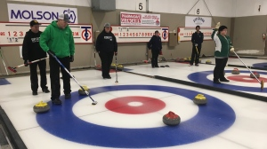 Daniel Fiedelleck and his team preparing for the 2020 Special Olympics Canada Winter Games at the Curl Regina Bonspiel. (Cole Davenport/CTV News)