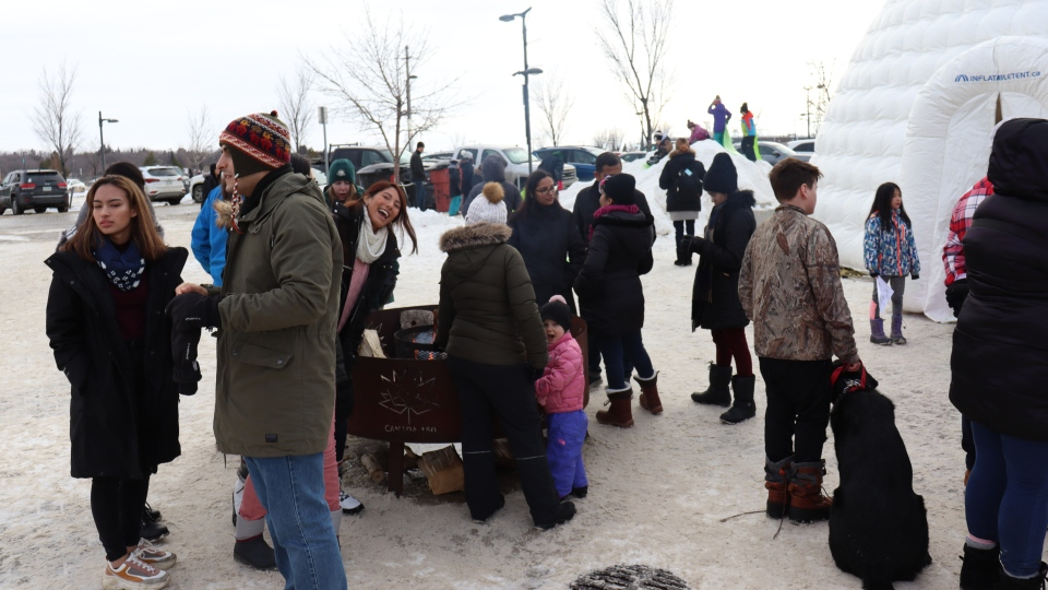 Crowds were taking in some winter fun at the Nutrien Wintershines Festival. (Chad Leroux/CTV News)