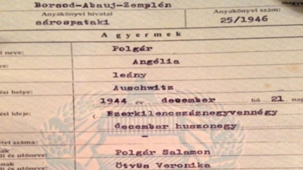 Angela's birth certificate